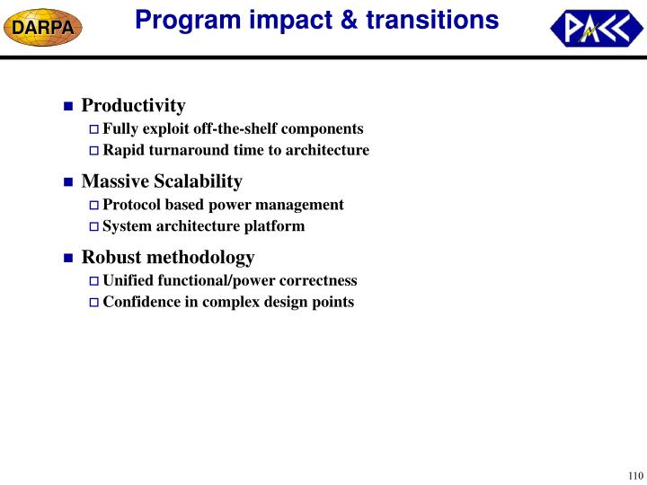 Program impact & transitions