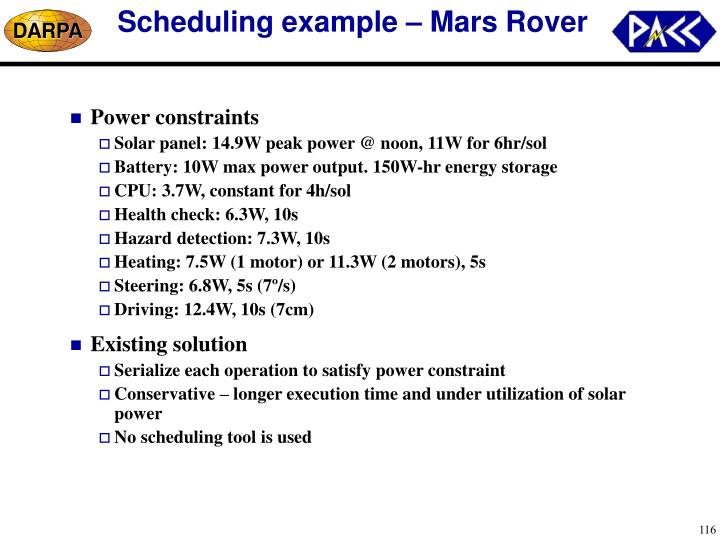 Scheduling example – Mars Rover