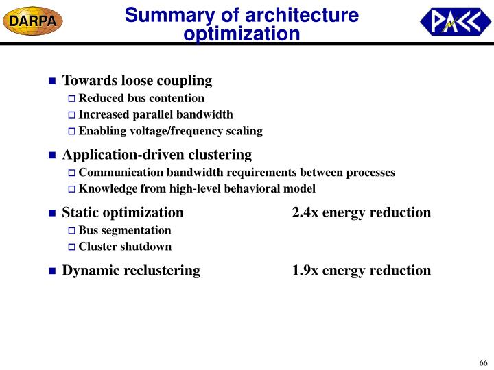 Summary of architecture optimization