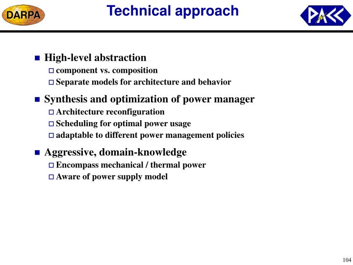Technical approach