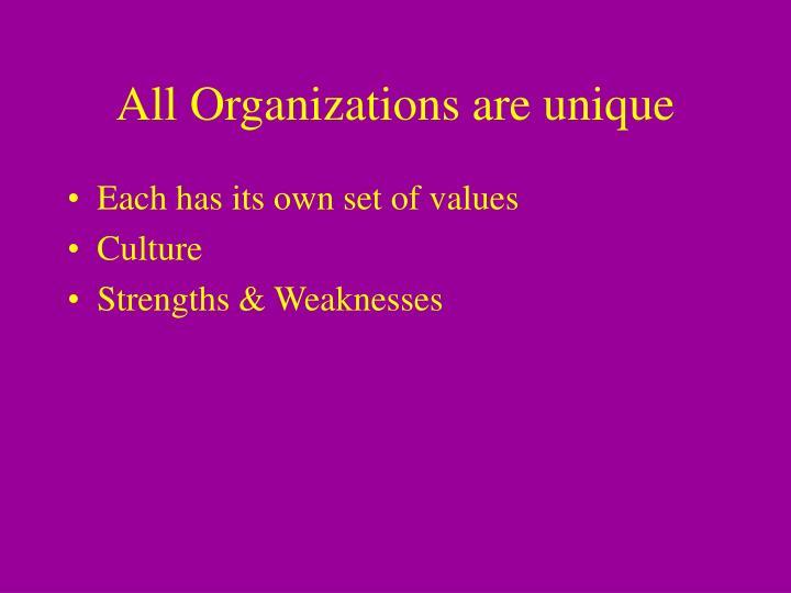 All Organizations are unique