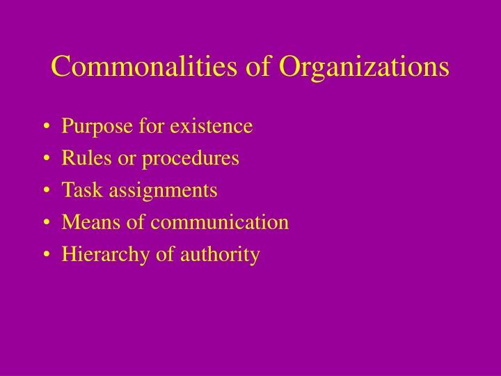 Commonalities of Organizations