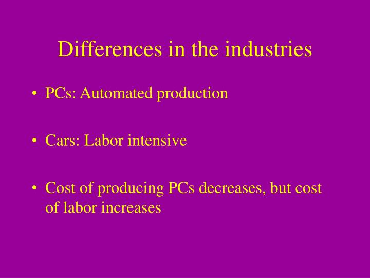 Differences in the industries