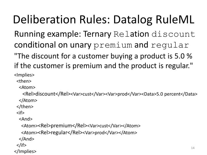 Deliberation Rules: Datalog RuleML