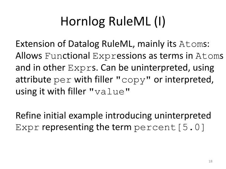 Hornlog RuleML (I)