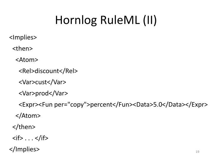 Hornlog RuleML (II)