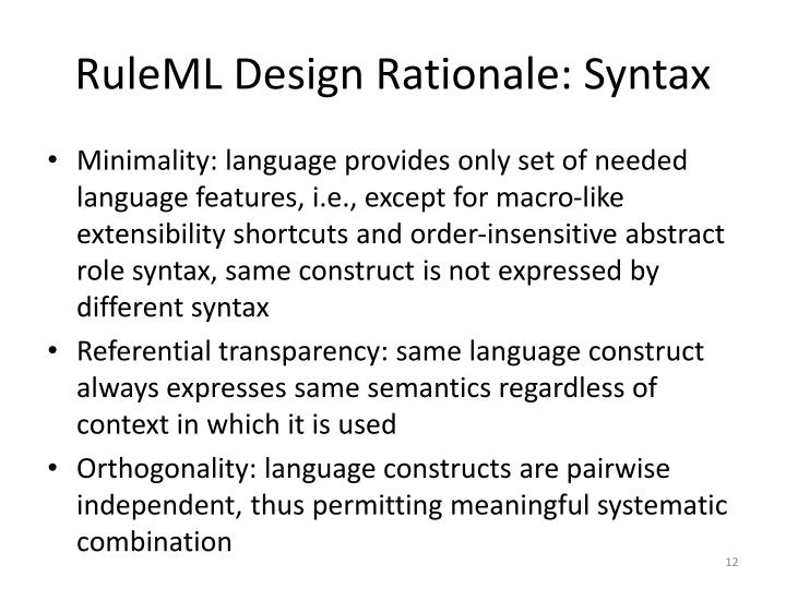 RuleML Design Rationale: Syntax