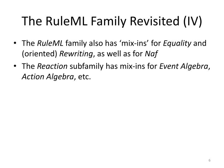 The RuleML Family Revisited (IV)