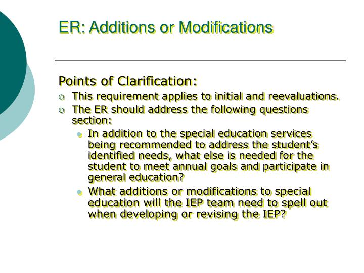 ER: Additions or Modifications