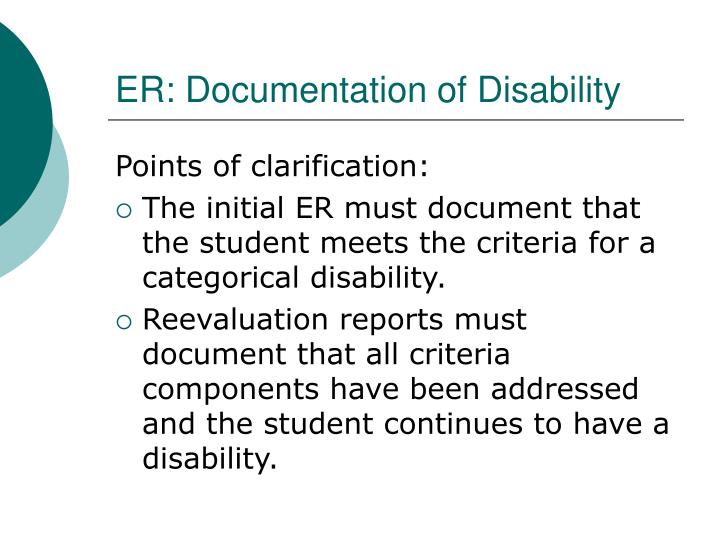 ER: Documentation of Disability