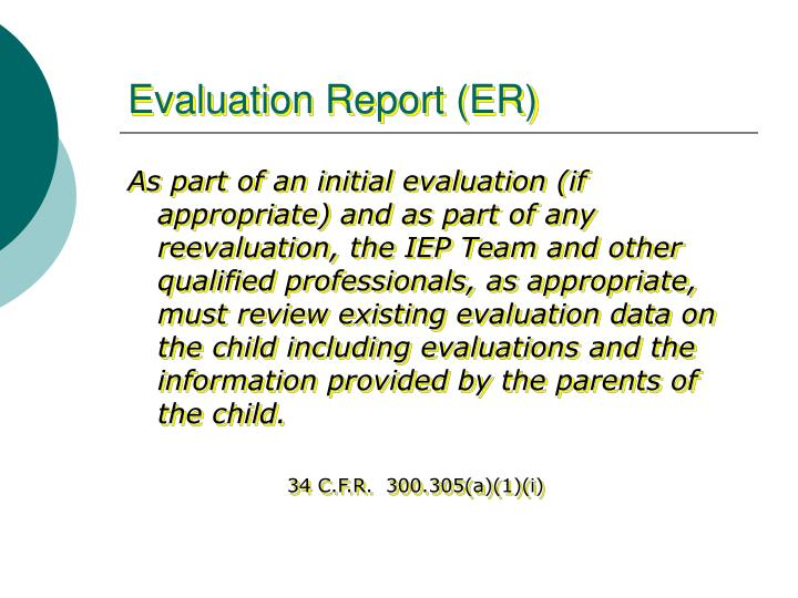 Evaluation Report (ER)