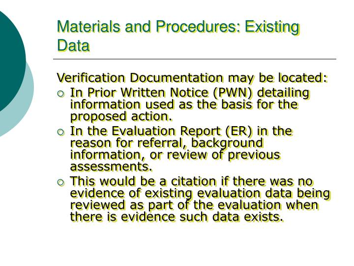 Materials and Procedures: Existing Data