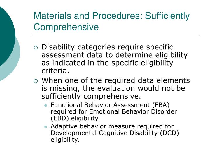 Materials and Procedures: Sufficiently Comprehensive