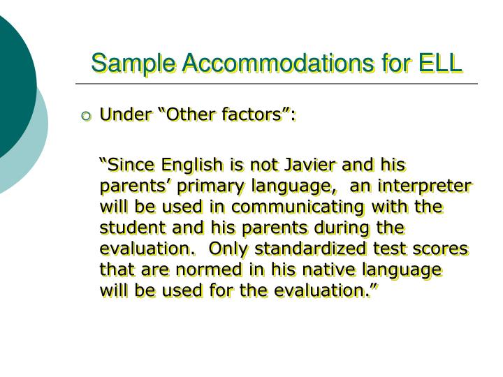 Sample Accommodations for ELL