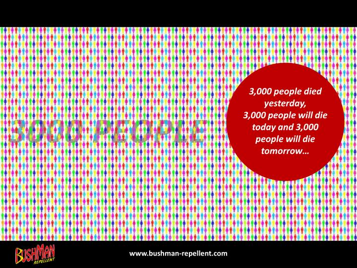 3,000 people died yesterday,