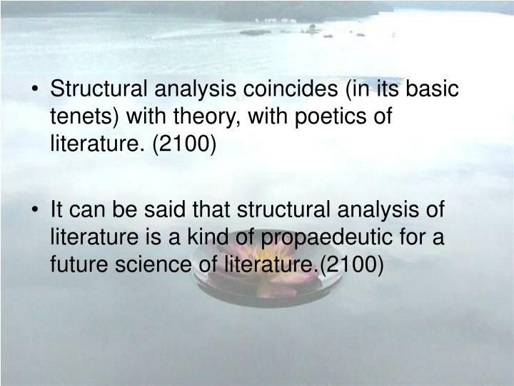 Structural analysis coincides (in its basic tenets) with theory, with poetics of literature. (2100)