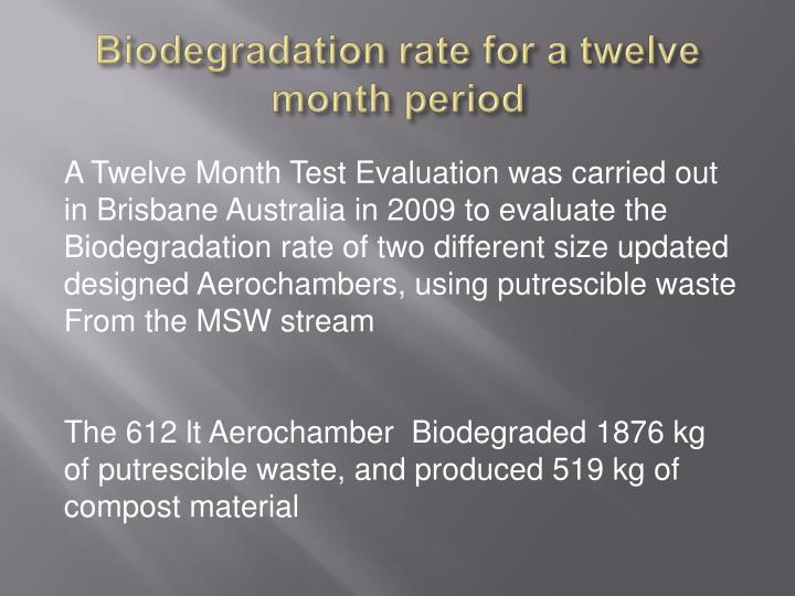 Biodegradation rate for a twelve month period