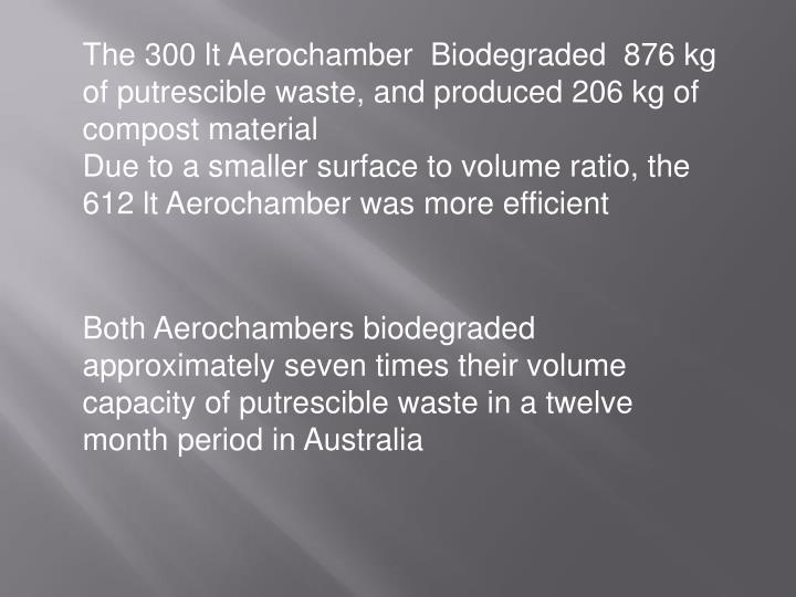 The 300 lt Aerochamber  Biodegraded  876 kg of putrescible waste, and produced 206 kg of compost material