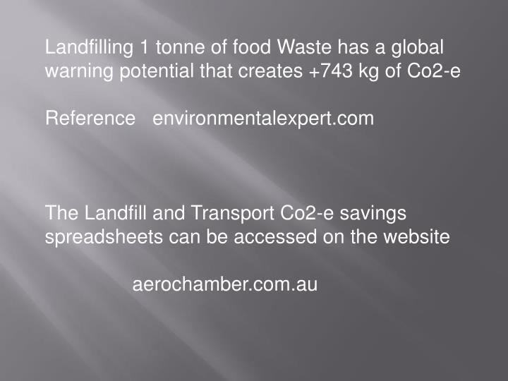 Landfilling 1 tonne of food Waste has a global warning potential that creates +743 kg of Co2-e