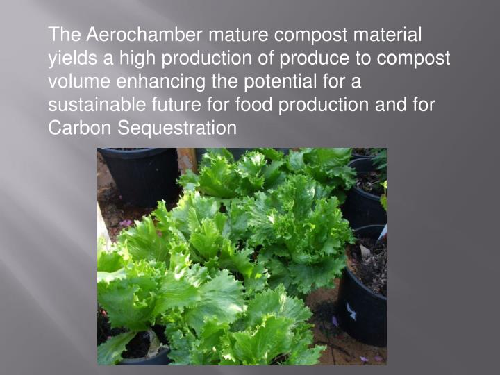 The Aerochamber mature compost material  yields a high production of produce to compost volume enhancing the potential for a sustainable future for food production and for Carbon Sequestration