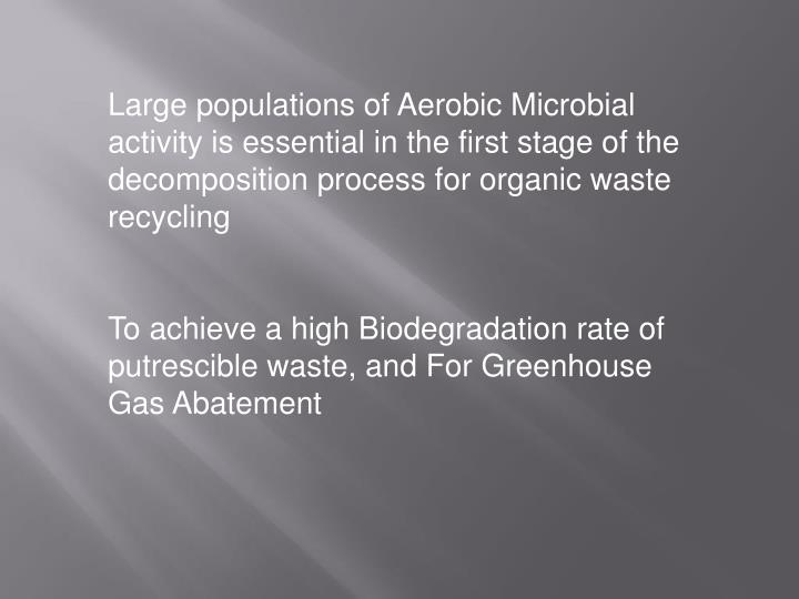 Large populations of Aerobic Microbial activity is essential in the first stage of the decomposition process for organic waste recycling