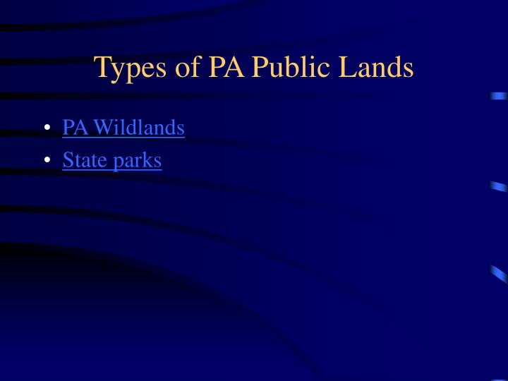 Types of PA Public Lands