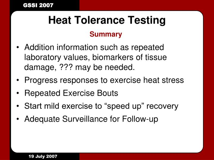 Heat Tolerance Testing