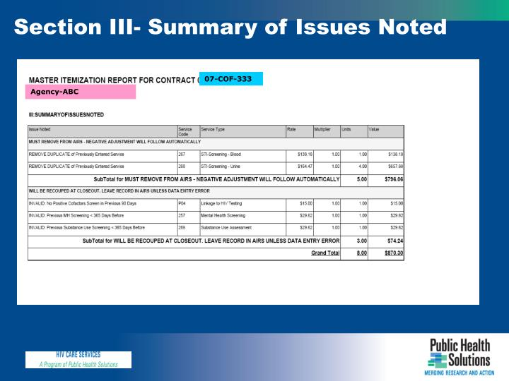 Section III- Summary of Issues Noted