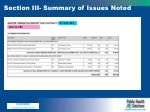 section iii summary of issues noted