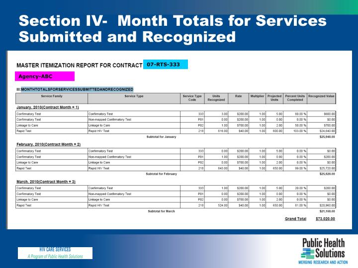 Section IV-  Month Totals for Services Submitted and Recognized