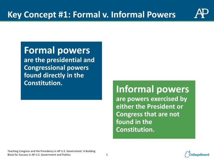 Key Concept #1: Formal v. Informal Powers