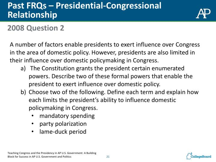 Past FRQs – Presidential-Congressional Relationship