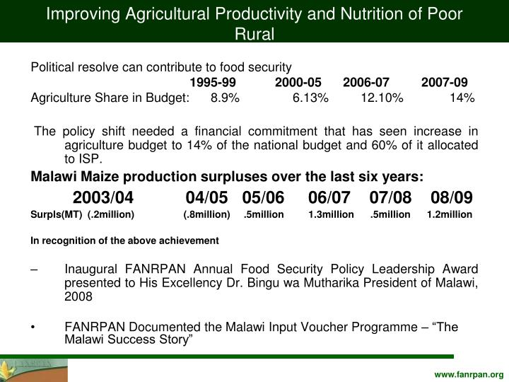 Improving Agricultural Productivity and Nutrition of Poor Rural