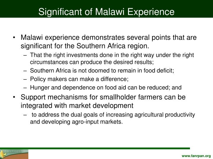 Significant of Malawi Experience