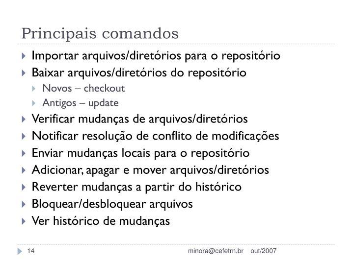 Principais comandos