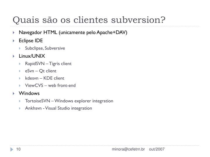 Quais são os clientes subversion?