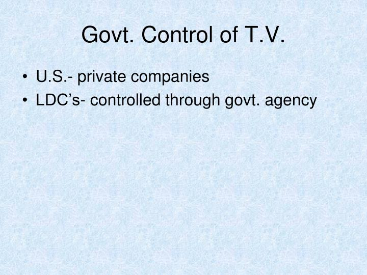 Govt. Control of T.V.