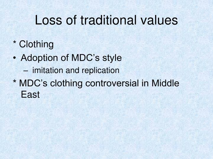 Loss of traditional values
