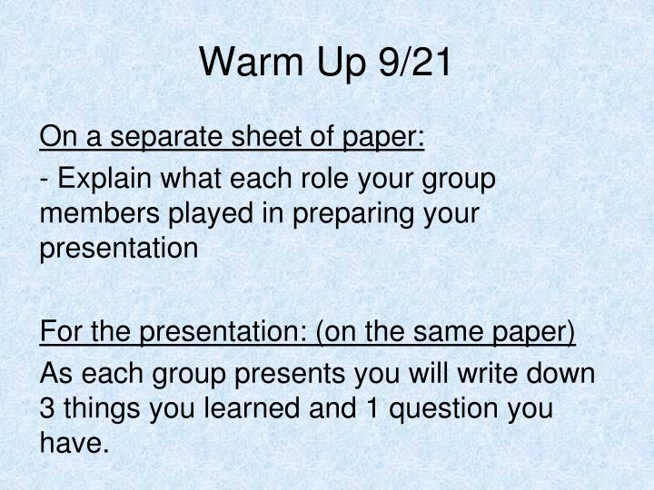 Warm Up 9/21