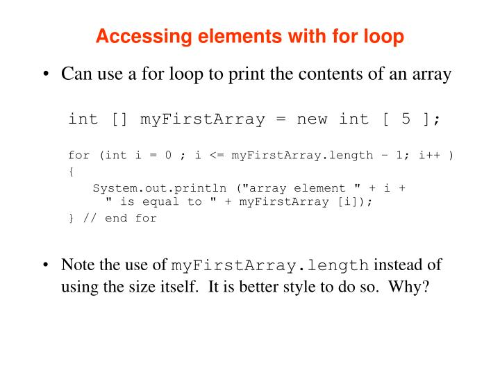 Accessing elements with for loop