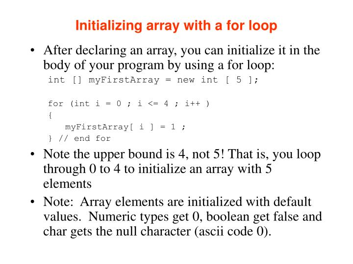 Initializing array with a for loop