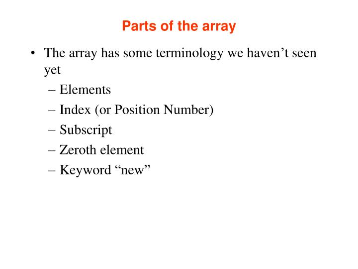 Parts of the array