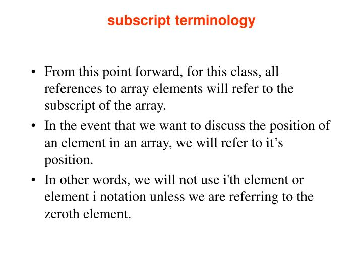 subscript terminology