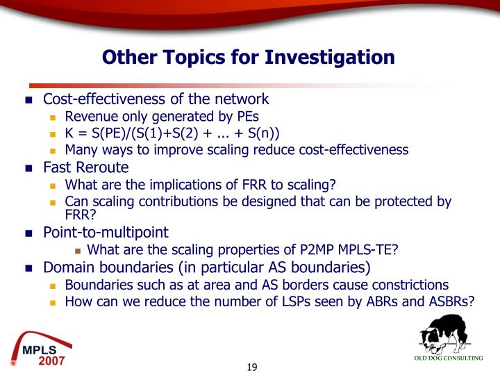 Other Topics for Investigation