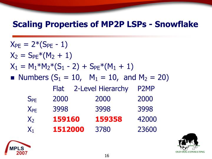 Scaling Properties of MP2P LSPs - Snowflake