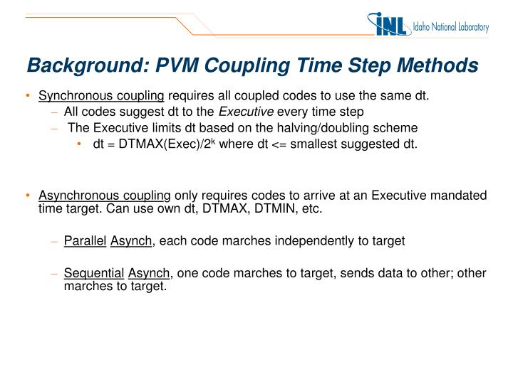 Background pvm coupling time step methods