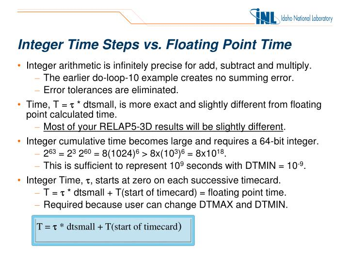 Integer Time Steps vs. Floating Point Time