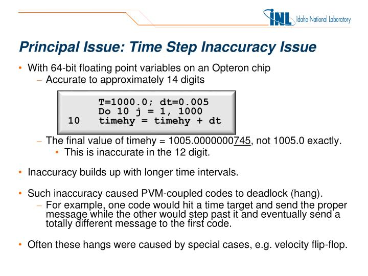 Principal Issue: Time Step Inaccuracy Issue