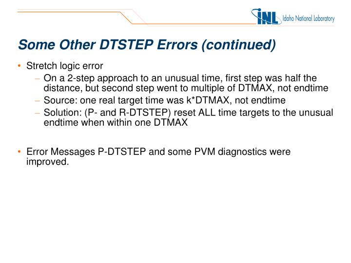 Some Other DTSTEP Errors (continued)