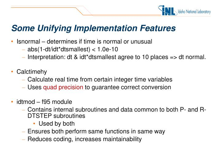 Some Unifying Implementation Features